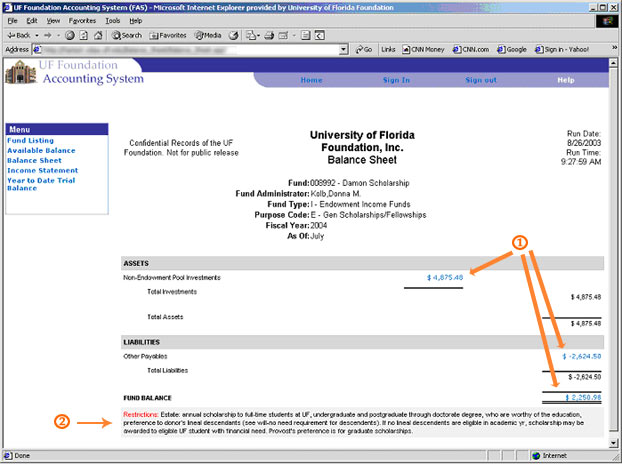 uf foundation accounting system fas